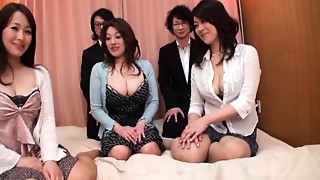 Asian, Big Boobs, Blowjob, Creampie, Face Sitting, Group Sex, Mature