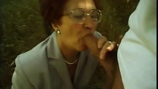 Blowjob, Grannies, Mature, MILF, Nylon, Outdoor, Redhead, Stepmom, Stockings