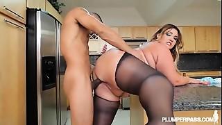 BBW, Big Ass, Chubby, Kitchen, Latina, Stockings