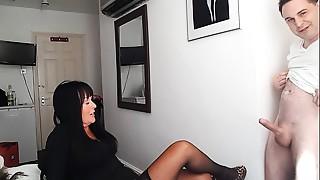 British, Cumshot, Mature, Stockings