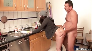 Facial, Hairy, Fucking, Kitchen, Mature, MILF, Seduced, Stepmom, Teen