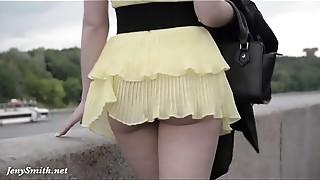 Big Ass, Flashing, High Heels, Outdoor, Panties, Public Nudity, Upskirt, Voyeur