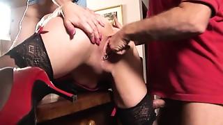 Amateur, British, Mature, Stockings, Threesome