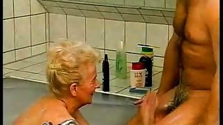 Bathroom, Blowjob, Cumshot, Double Penetration, Grannies, Group Sex, Fucking, Mature, Old and young, Slut
