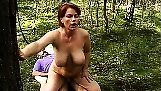 Blowjob, Fucking, Mature, MILF, Old and young, Outdoor, Redhead