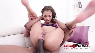 Anal, Big Cock, Blowjob, Brunette, Cumshot, Double Penetration, Gaping, Interracial, Latina, Lingerie