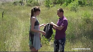 Blowjob, Couple, Doggystyle, Fucking, Outdoor, Petite, Shaved, Teen