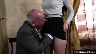 Blowjob, Brunette, Daddy, Grannies, Fucking, Kissing, Teen