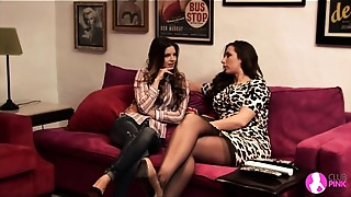 Brunette, Fingering, Kissing, Lesbian, Stockings