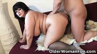 BBW, Chubby, Cumshot, Mature, MILF, Old and young, Stepmom
