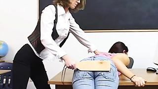 Big Ass, Big Boobs, Brunette, Jeans, School, Spanking