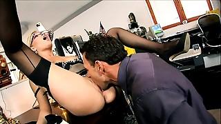 Anal, Black and Ebony, Glasses, Fucking, High Heels, Lingerie, Nylon, Office, Secretary, Stockings