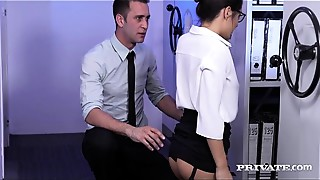 Blowjob, Brunette, Cumshot, Doggystyle, Office, Shaved, Small Tits, Stockings