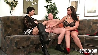 Big Boobs, Blowjob, Fucking, Lingerie, MILF, Stockings, Threesome
