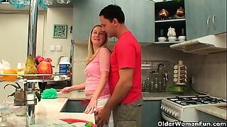 Cumshot, Housewife, Kitchen, Mature, MILF, Stepmom, Wife