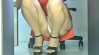 Office, Stockings, Upskirt, Voyeur